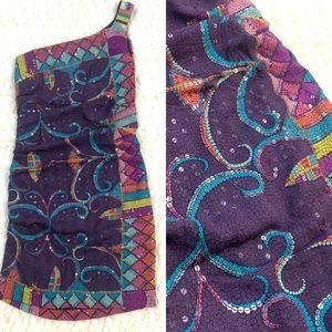 Nicole Miller Signature Purple Silk Sequin Dress
